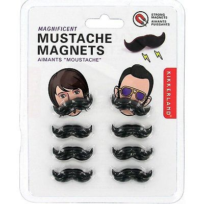 Mustache Magnets  Set of 8 Fun Office  Fridge Magnets Unique Magnets