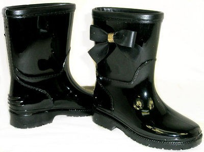 Girls Kids Flat GALOSHES WELLIES RUBBER RAIN Boots*SoOoO CUTE BOW