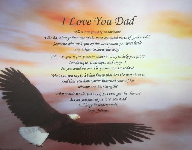 LOVE YOU DAD POEM PERSONALIZED GIFT BIRTHDAY, CHRISTMAS, FATHERS