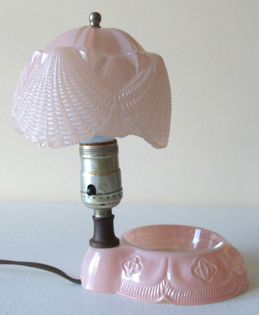 Art Deco Table Lamp w/ Glass Shade Embossed w/ Sea Shells Glass Pink