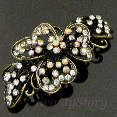 Shipping 1 PC Antiqued Rhinestone Crystal Flower Hair Barrette