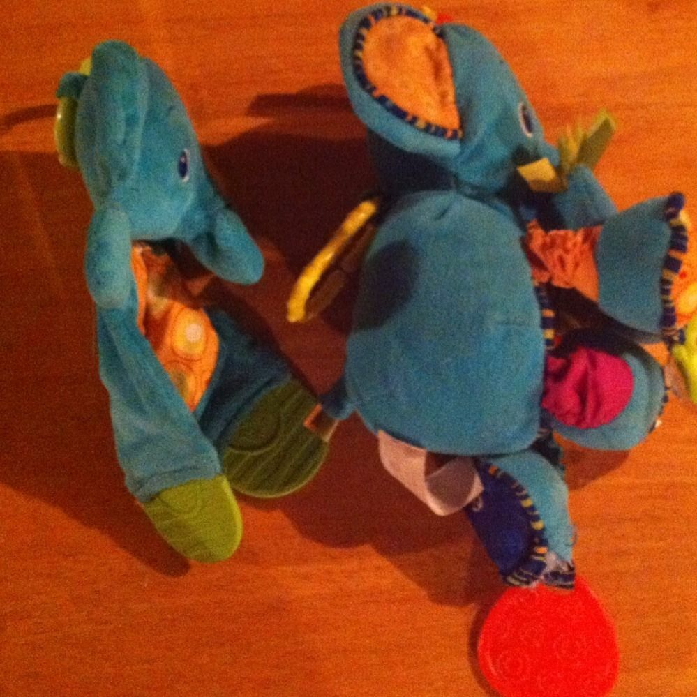 Bright Starts Baby Toy Lot Plush Blue Elephant Crinkle Teether Lovey