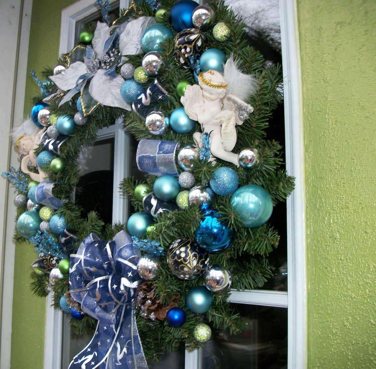 Beautiful Large Artificial Christmas Wreath Blue with Angels, Blue