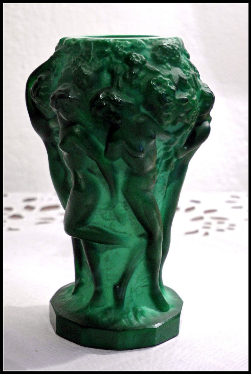 Art Deco Malachite glass Vase small vintage Company Heinrich Hoffmann