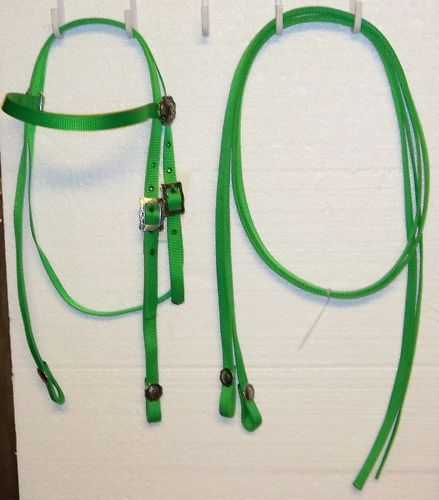 Bridle Headstall Split Reins Lime Nylon horse tack trail barrel racing