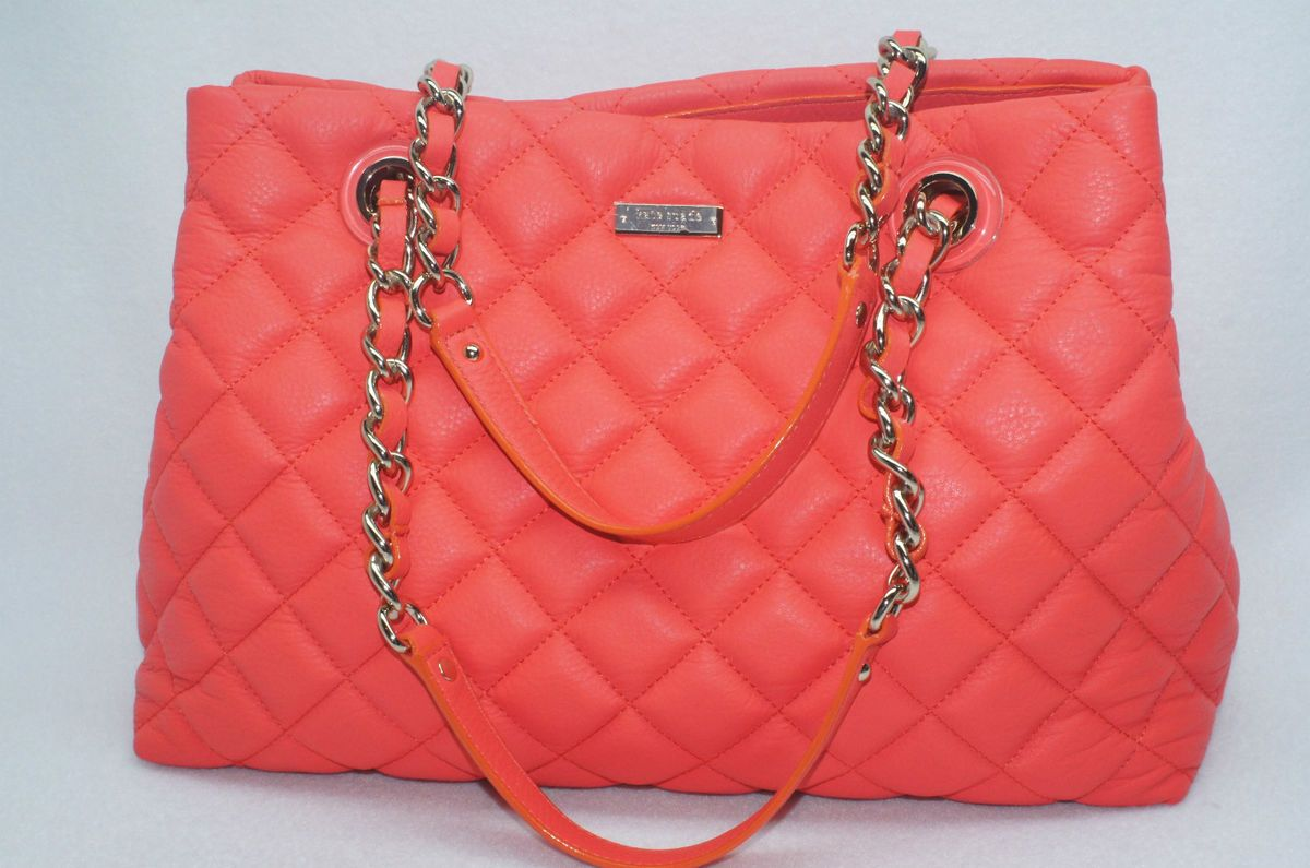 Kate Spade Maryanne Gold Coast Coral Quilted Tote Hobo Handbag Bag