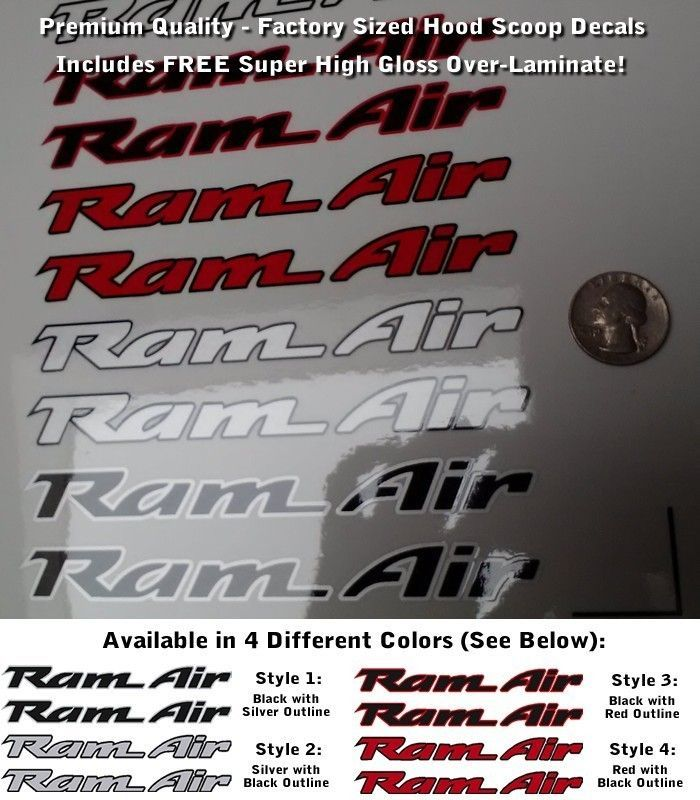 Trans Am Ram Air Hood Scoop Decals SET X2 Multicolor Outlined Premium